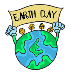 Earth day with world collection vector