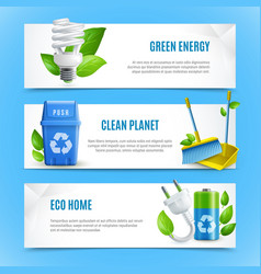 ecology realistic paper banners vector image vector image
