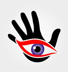 Eye emerging from a palm vector