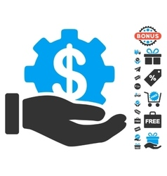 Financial development gear hand icon with free vector