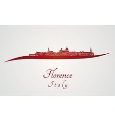 Florence skyline in red vector