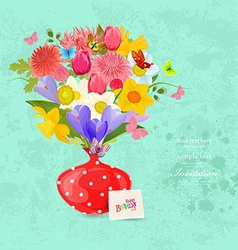 Invitation card with bouquet of lovely flowers in vector image