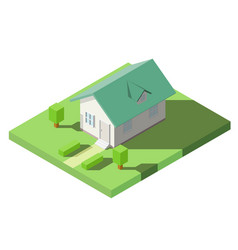 Isometric of house with green dormer roof on the vector