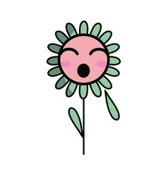 Kawaii funny flower plant with leaves and petals vector
