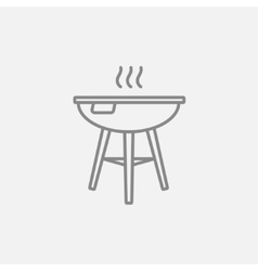 Kettle barbecue grill line icon vector image vector image