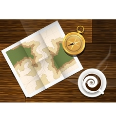 Map cofe and compass plan to travel vector
