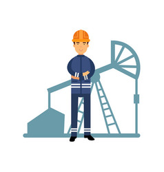 oilman character in a blue uniform oil industry vector image