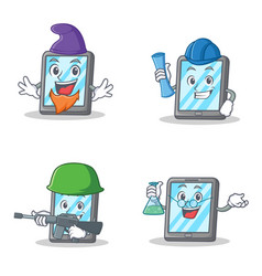 Set of tablet character with elf architect army vector