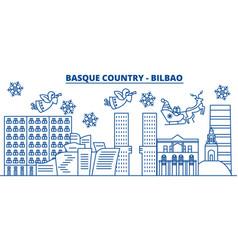 Spain bilbao basque country winter city skyline vector