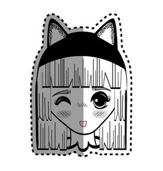 Sticker anime cute beautiful woman with costume vector