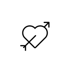 thin line heart arrow icon vector image vector image