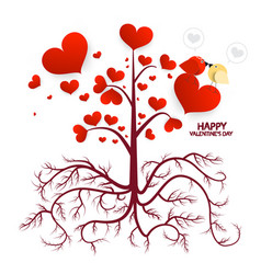 Tree with hearts isolated on white background vector
