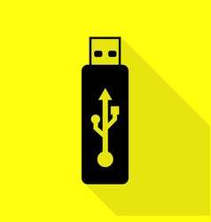 Usb flash drive sign black icon with flat vector