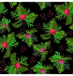 Vivid seamless pattern with bud anemone on black vector