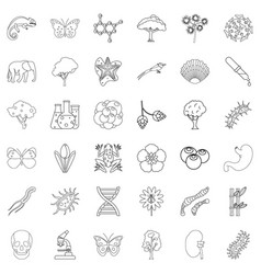 zoology icons set outline style vector image