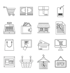 Shopping icons set outline style vector