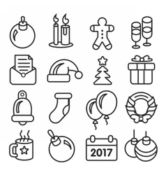 icons pack christmas lines icons vector image