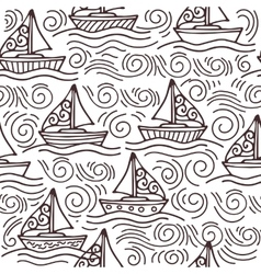 Inspiring seamless pattern with ships and the sea vector