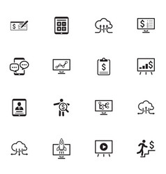 Business and money icons set flat design vector