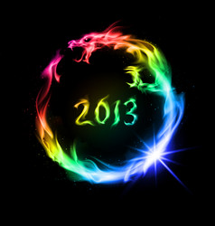 rainbow fiery dragon on black background for vector image