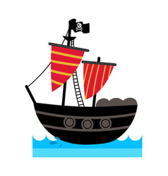 Pirate isolated icon with ship vector