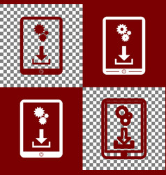 Phone icon with settings symbol  bordo and vector