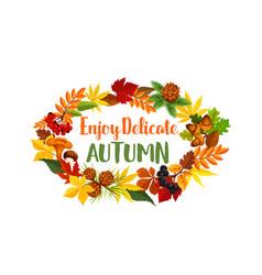 Autumn seasonal harvest greeting poster vector