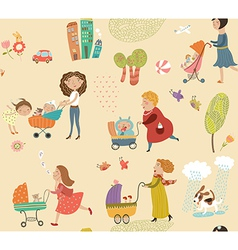 Pattern with moms and babies vector