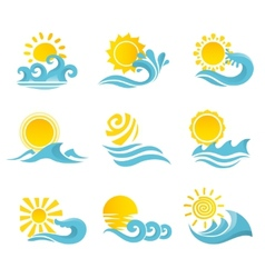 Waves sun icons set vector