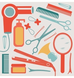 A colorful hairdressing equipment collection vector image