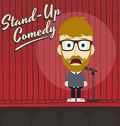 Hilarious guy stand up comedian cartoon vector