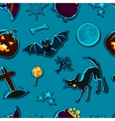 Happy halloween seamless pattern with stickers vector
