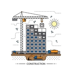 Thin line construction site concept vector
