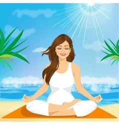 Beautiful young woman sitting in yoga pose vector