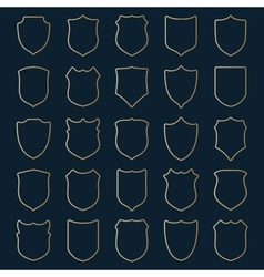 Set of golden contour shields vector