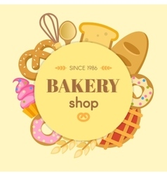 Bakery flat round composition vector