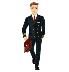 Handsome young man wearing airline pilot uniform vector