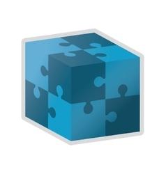 Cube in puzzle piece icon vector