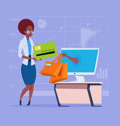 African american business woman use computer vector