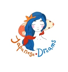 Beautiful young girl sailor and the japanese carp vector