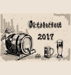 Beer barrel glass sketch oktoberfest festival vector