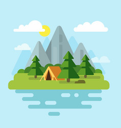 camping with mountains and forest vector image