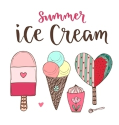 cartoon ice cream set Cones and cute vector image