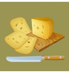 Cheese cut into chunks vector image vector image