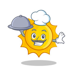 chef with foof cute sun character cartoon vector image