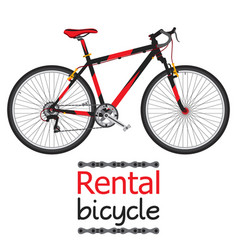 City bike hire rental bicycle for tourists in flat vector