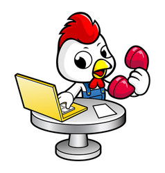 Cock character phone orders are received at the vector