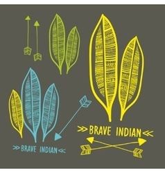 Doodle indian signs vector