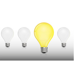 glowing and turned off electric light bulb vector image
