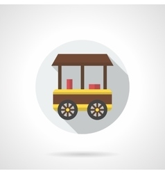 Ice-cream trade trolley flat round icon vector